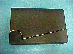 Black Satin/Sateen Rhinestone Clutch Purse (Image1)
