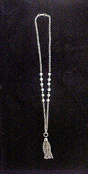 Silver-pearl Tassel Necklace