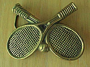 Vintage Crossed Tennis Rackets Belt Buckle