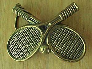 Vintage Crossed Tennis Rackets Belt Buckle (Image1)