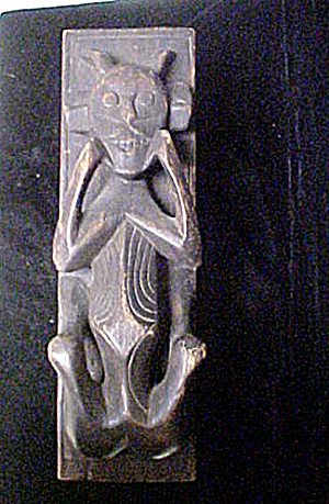 Timor Horned Figure Wood Box - 20th Century