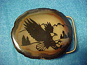 Agate W/painted Eagle Belt Buckle