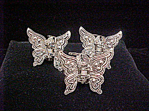 Set of Butterfly Silver-Toned Hair Clips (Image1)