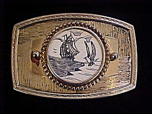 Sailing Ship w/Sea Gulls Belt Buckle (Image1)