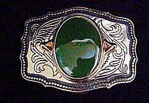 Silver-toned Green Onyx Cabochon Belt Buckle