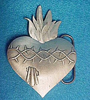 Flaming Heart Barbwire Belt Buckle (Image1)