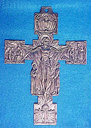 Crucifix/christ Rising Pewter Colored Cross