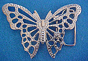Silver-toned Butterfly Belt Buckle