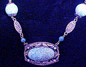 Coro Turquoise Floral Style Necklace (Image1)