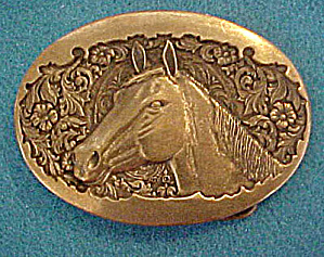 Brass Horses Head Belt Buckle - Vintage