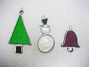 Stained Glass Christmas Ornaments - Set Of 3
