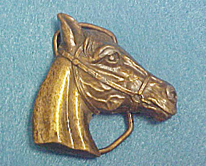 Horse's Head Brass Belt Buckle - Bergamot