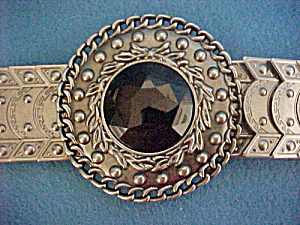 Silver Toned Metal Belt W/jeweled Buckle