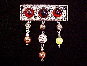 Bar Pin - Amber Style Cabochons (Image1)