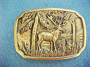 Elk Brass Belt Buckle - Bts Vintage