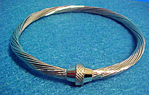 Twisted Bangle Silver-Toned Bracelet (Image1)