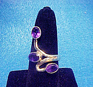 SS Amethyst Ring - 3 Stones - Modern Design (Image1)