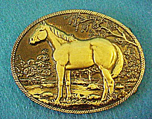 Standing Horse Brass Belt Buckle (Image1)