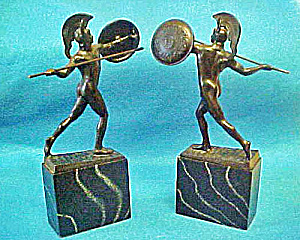 Greek  Warrior Bookends - Vintage (Image1)