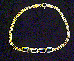 Gold Plated Ss Bracelet W/faceted Stones
