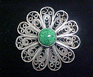 Turquoise Style Pin W/lacey Silver Setting