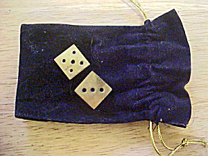 Brass Pair Dice W/pouch
