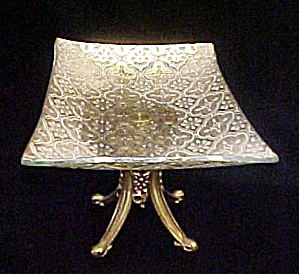 Embossed Glass Metal Pedestal Dish