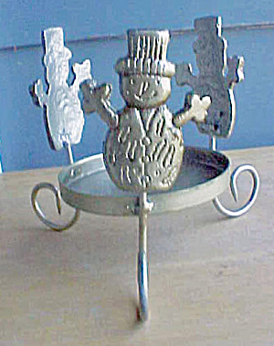 Snowmen Cast Iron Candle Holder
