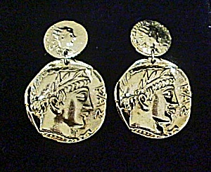 Double-Coin Style Earrings - Pierced Ears  (Image1)