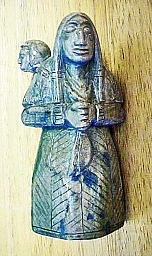 Serpentine Sculpture Peruvian Mother w/Child (Image1)