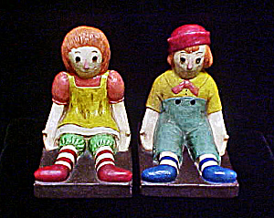 Raggedy Ann/andy Chalk-ware Bookends