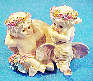 Cherubs/elephant Music Box