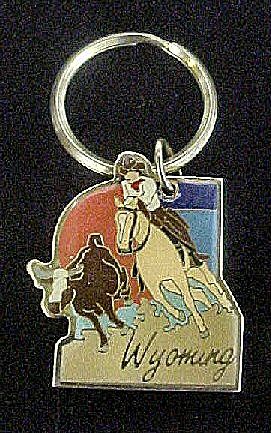 Cowboy Roping Steer - Wyoming Key Chain