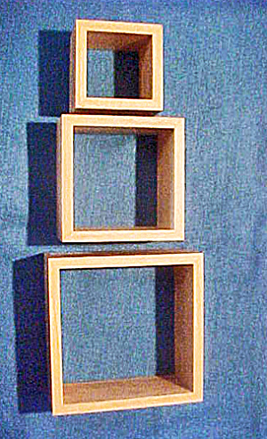 Set of 3 Wood Shadow Boxes Wall Shelves (Image1)