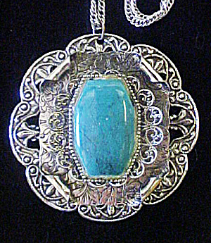 Silver Tone/turquoise Style Pendant