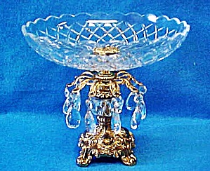 Pedestal Glass Shallow Bowl W/crystals