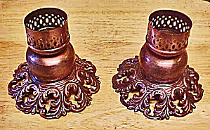 Pair Brass Washed Candle Holders (Image1)