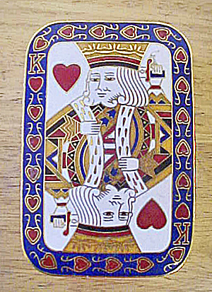 King of Hearts Enameled Brass Trinket Box (Image1)
