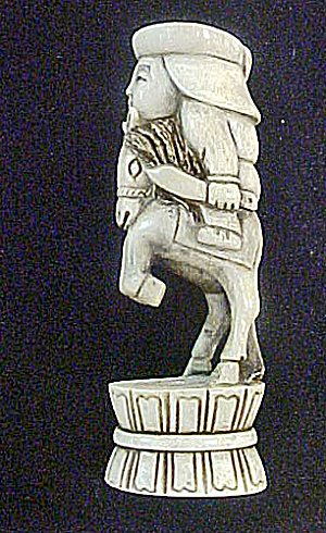 Oriental Horseman Carved Bone Sculpture (Image1)
