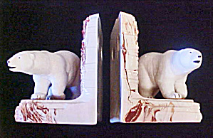 Pair Polar Bear Ceramic Bookends