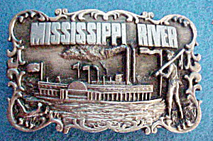 Mississippi River Metal Belt Buckle