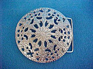 Floral Round Belt Buckle - Openwork Metal (Image1)