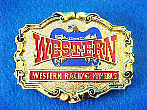 Western Racing Wheels Metal  Belt Buckle (Image1)
