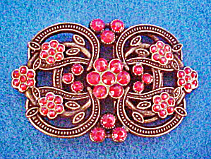 Metal Pink Beaded Floral Belt Buckle (Image1)