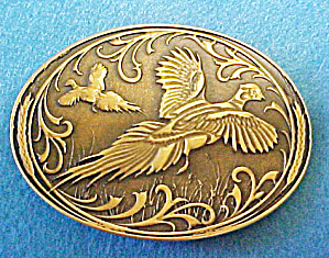 Pheasants Brass Belt Buckle (Image1)
