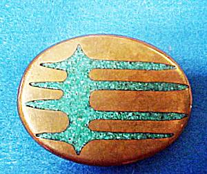 Western Turquoise/Brass Belt Buckle (Image1)