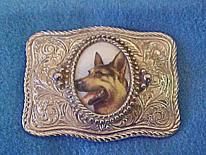 German Shepherd Metal Belt Buckle