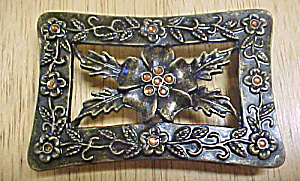 Floral Metal Belt Buckle w/Amber Accent (Image1)