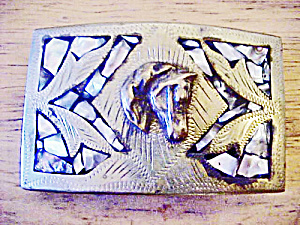 Horse's Head Belt Buckle W/mother Of Pearl