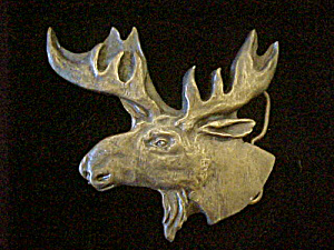 Moose Head Metal Belt Buckle (Image1)